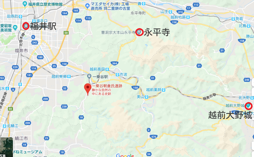 一乗谷朝倉氏遺跡の地図